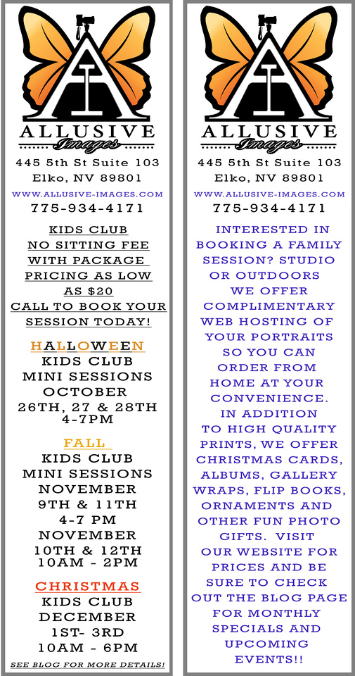 Also offering school pictures in the studio October 20th, 21st & 22nd!